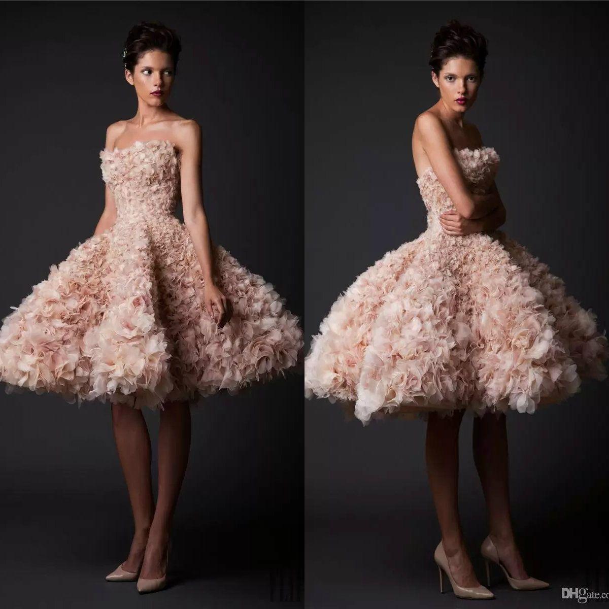 Krikor Jabotian Vintage Wedding Dresses Strapless Knee Length Short Bridal Gowns Tulle A-Line Plus Size Blush Wedding Dress