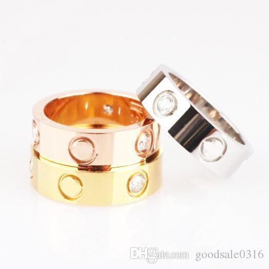 anello di acciaio di titanio di alta qualità 18 carati rosa anello classico amore d'argento viene con il sacchetto di polvere e la scatola per hipsters e coppie regali