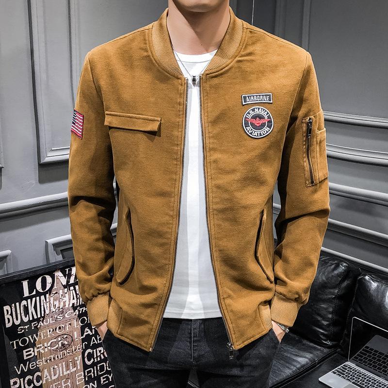 2019 İlkbahar Ve Sonbahar Yeni Stil Erkekler Slim Fit Ceket Gençlik Günlük Moda Moda Man Kore tarzı Katı Renk MEN'S Coat