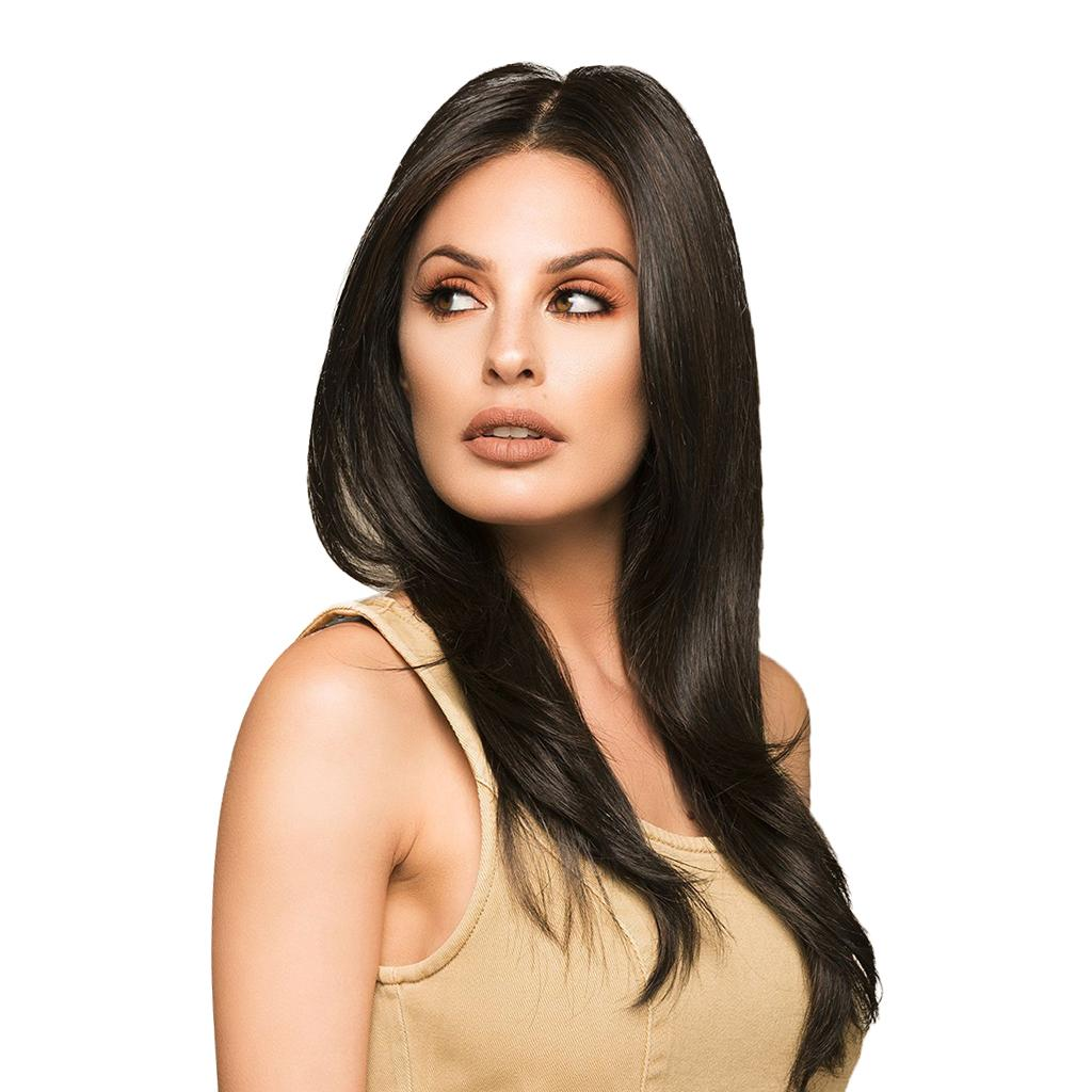 24 дюйма длиной натуральный средний пробор смешанные реальные парики человеческих волос Для женщин косплей партии повседневная одежда ( цвет натуральный черный)