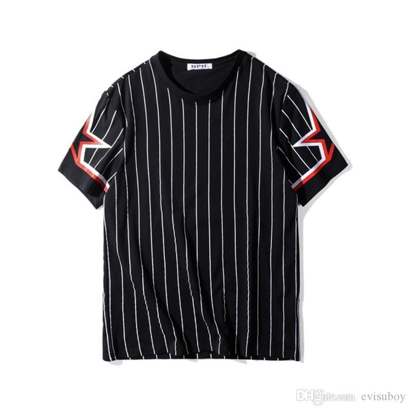 Luxus-T-Shirt Hip Hop gestreiften Druck Herren Designer-T-Shirt-Polo-Männer Frauen-Sommer-T Shirt Kurzarm-T-Shirts Größe S-XXL