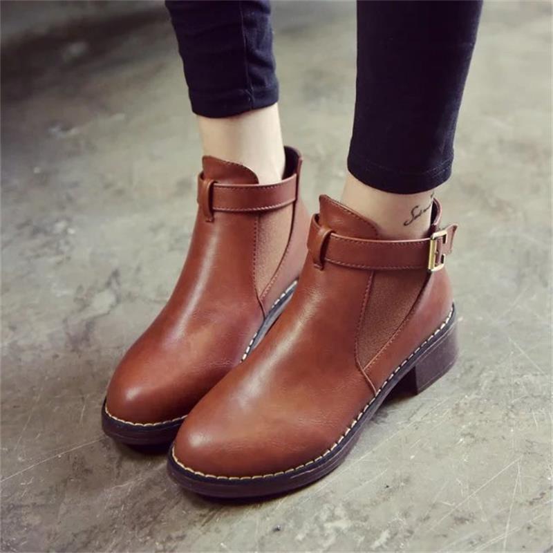 Tobillo de las mujeres botas de Martin 2018 otoño femeninos Zapatos Casual Mujer plana Moda Plataforma punta redonda correa de la hebilla sólida y cómoda