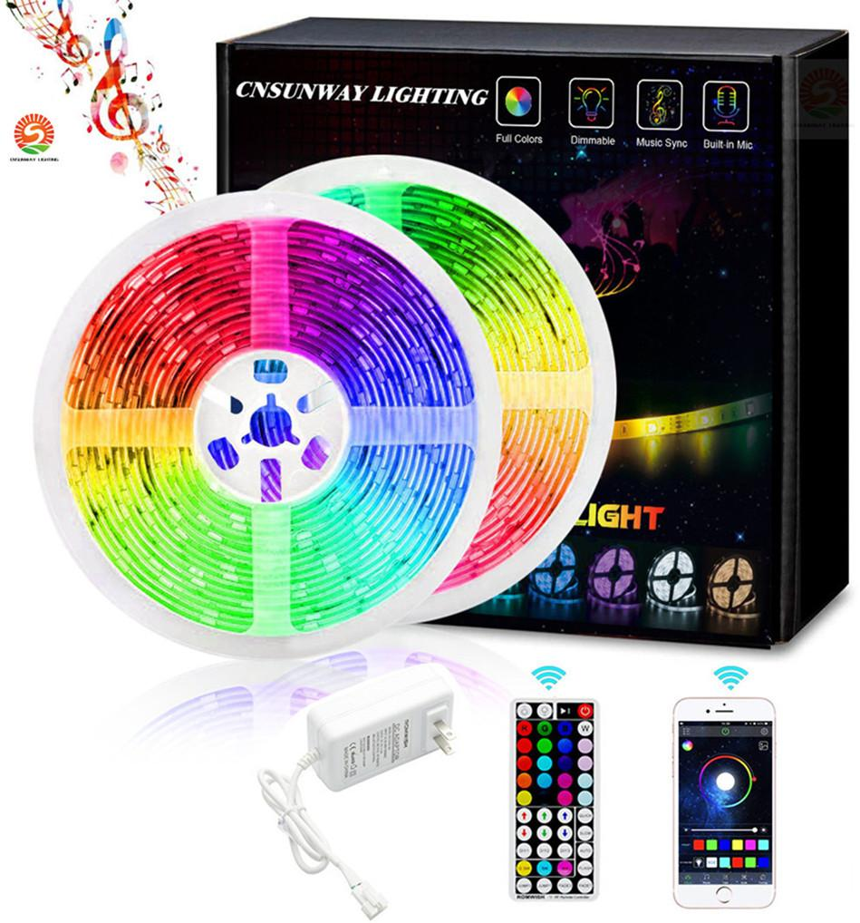 12V Led Neon Strip Light Sign Rope Flexible Bluetooth with 44key RF REMOTE Controller 5050RGB SMD + Stock In US