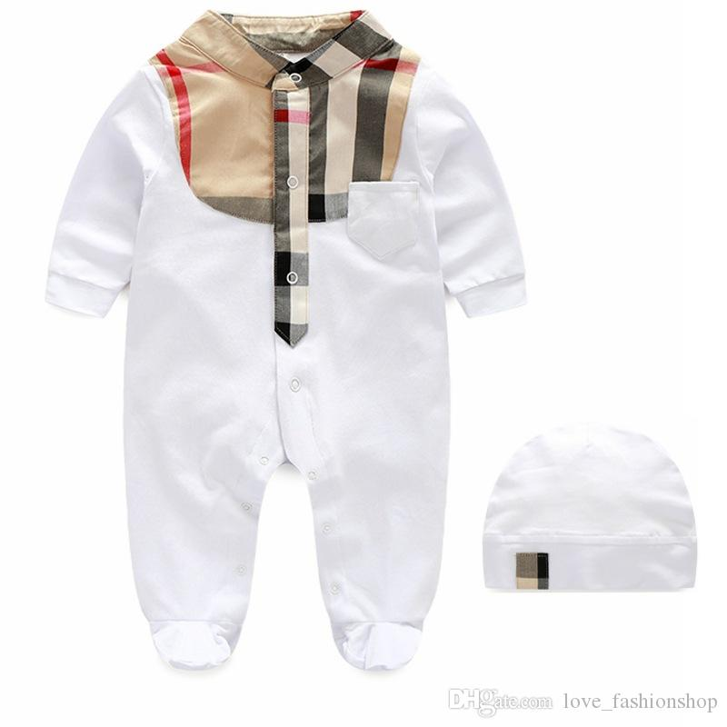 Retail Baby Plaid Romper With cap 0-1Y birthday Cotton Rompers Newborn baby bodysuit Children one-piece onesies Jumpsuits climbing clothes