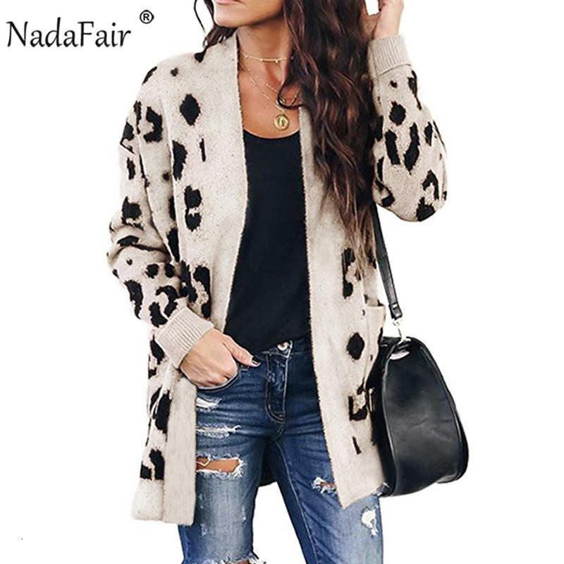 Nadafair Casual Leopard Long Cardigan Mulheres 2019 Outono Inverno Plus Size manga comprida malha Cardigan Sweater Femme Knitwear V191130