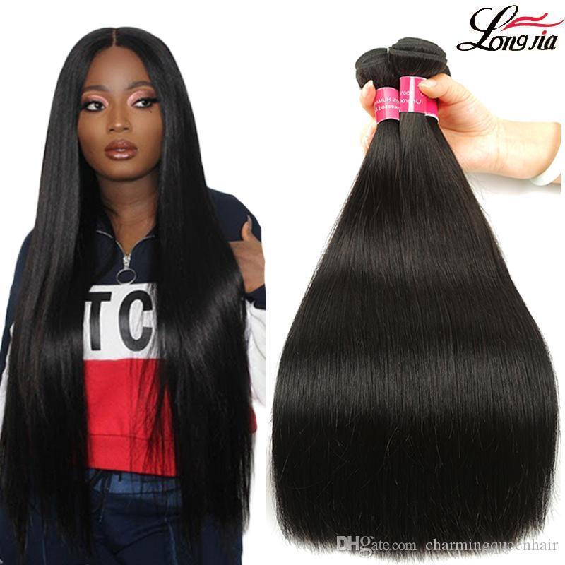 8A brasilianisches Glattes Haar 100% brasilianische Jungfrau gerade Menschenhaar 3 oder 4 Bundles Rohboden Peruaner Malaysian Glattes Haar Verlängerung