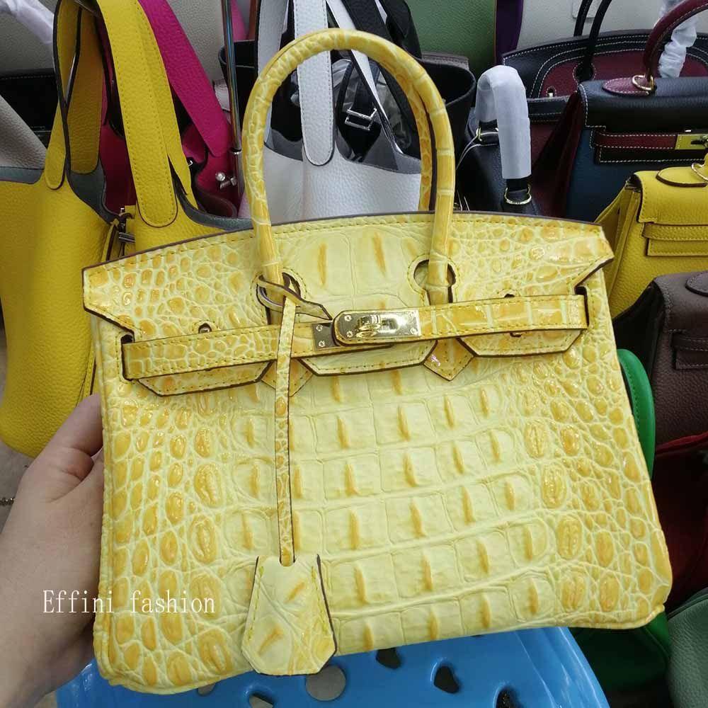 NUOVO 2019 di lusso del progettista del cuoio genuino borse Portafogli da donna duro Crocodile Bone Borsello in modo di marca del progettista del Tote Bags Messager