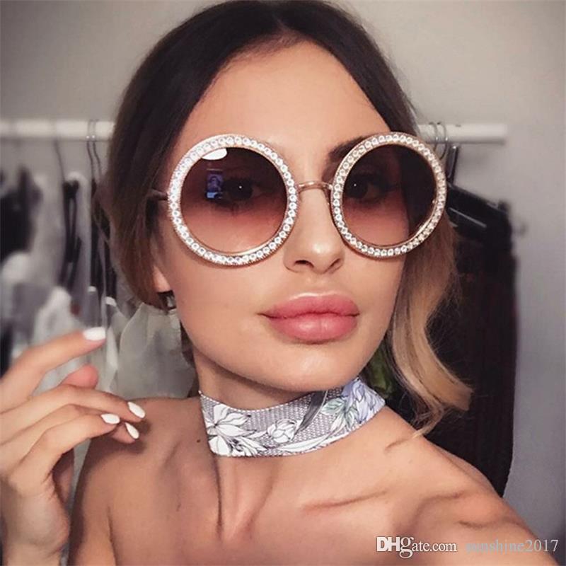 Metal Yuvarlak Güneş ile Kristal 2020 ltalyan Retro Yuvarlak Güneş Gözlükleri Kadın Siyah Elmas taklidi Shades UV400