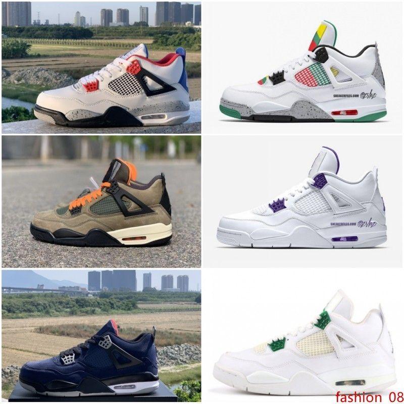 Hombres 4 4S zapatos de baloncesto Corte púrpura pino verde de trigo por lo que el Travis leales zapatos de diseño para hombre de las zapatillas de deporte azul de EE.UU. 7-13