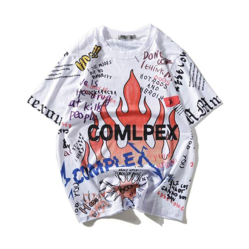 Gothic Graffiti Flame Trasher T Shirts 2019 Mens Funny Skeleton Skull Printed Oversized Tees Hip Hop Casual Tshirts