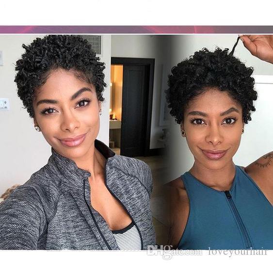 Новое поступление бразильские волосы африканские Амери короткая стрижка кудрявый вьющийся парик моделирование человеческих волос черный вьющийся парик для женщин