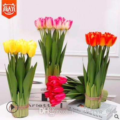 Saksı Hollanda Lale Bush Yapay Lale Çiçek Buketi Düzenlemesi Ev Düğün Pencere Kutusu Bahçe Ofis Yemek Odası Masa Deco
