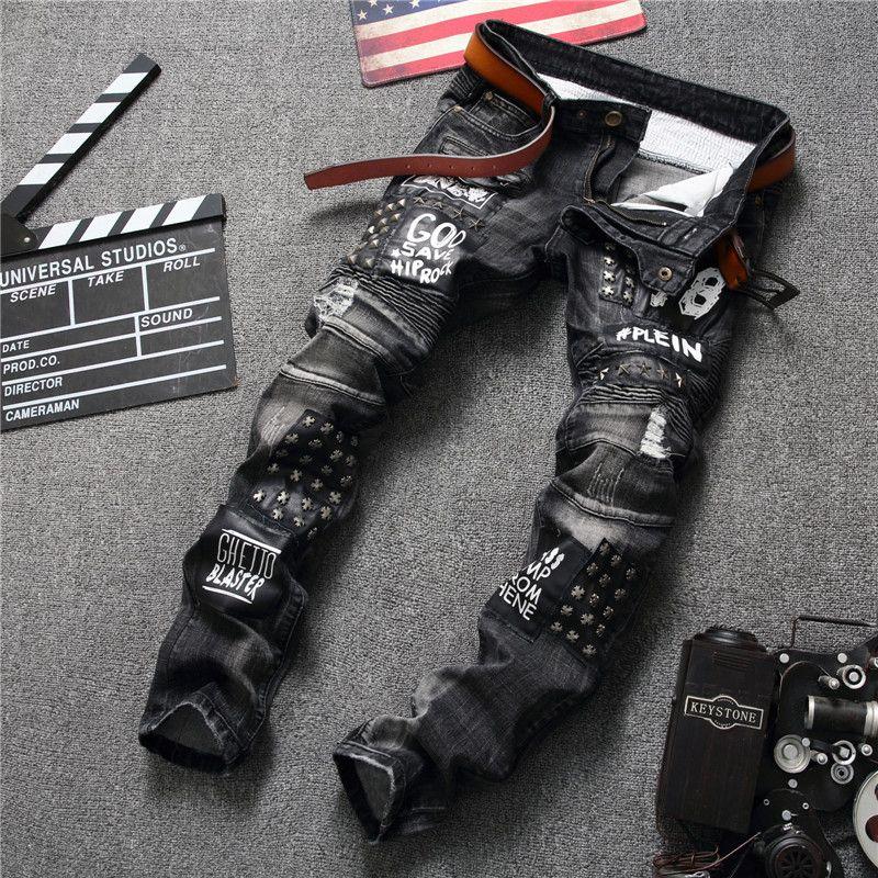 Yeni Orjinal Tasarım Avrupa Casual Gevşek Stil Moda Delik Jeans Süper Geniş Dikiş Siyah Tide Marka Pantolon Boyut 29-38