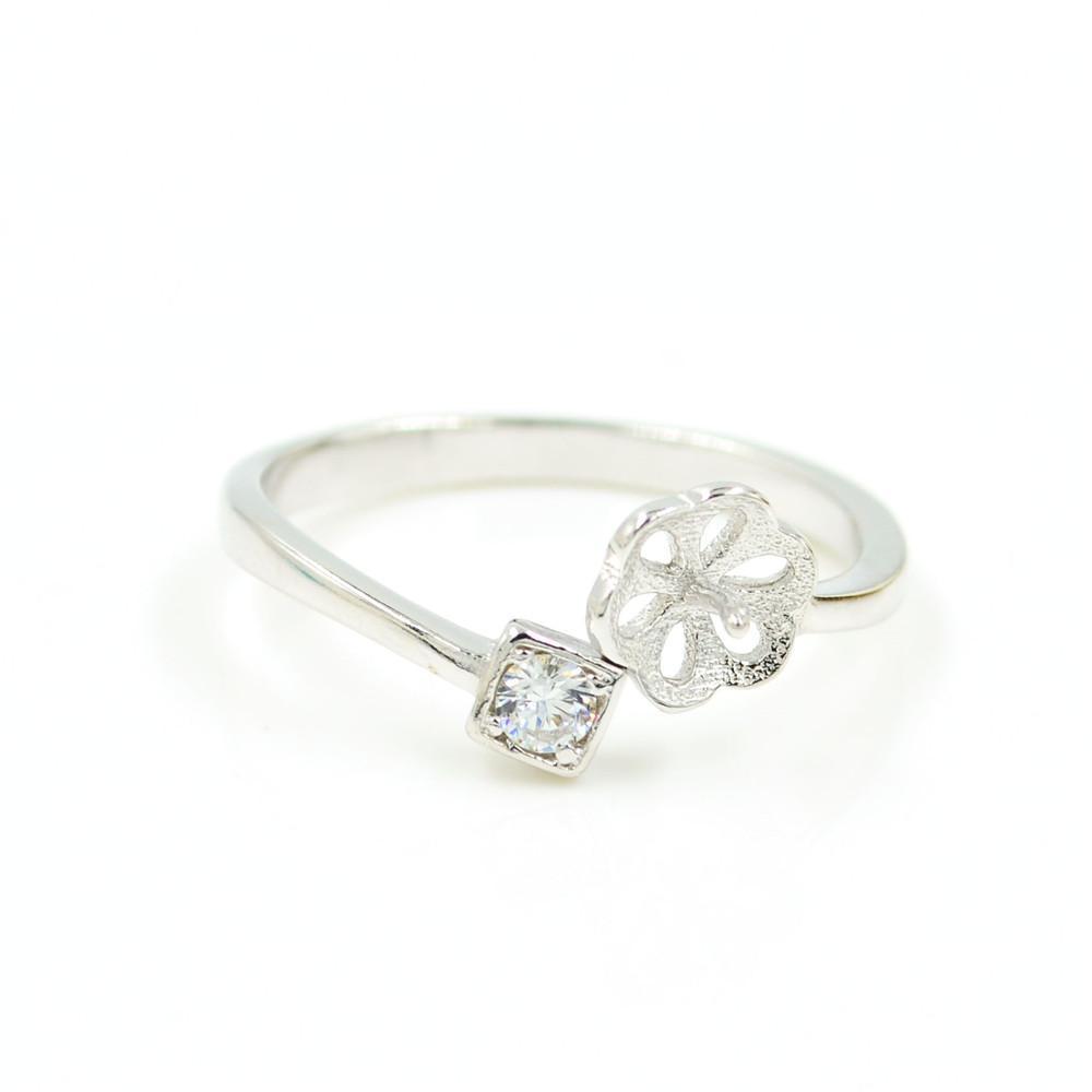 S925 стерлингового серебра кольцо крепления простой кубический Циркон дизайн кольца для женщин ювелирные изделия из жемчуга diy бесплатная доставка регулируемый открытие кольцо