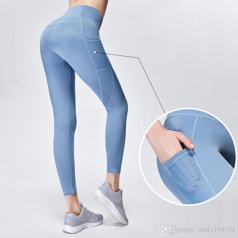 عبر الحدود سروال اليوغا مع سروال جيوب أنثى الجوف خياطة هوب ضيقة الرياضة تنفس تشغيل للياقة البدنية سروال