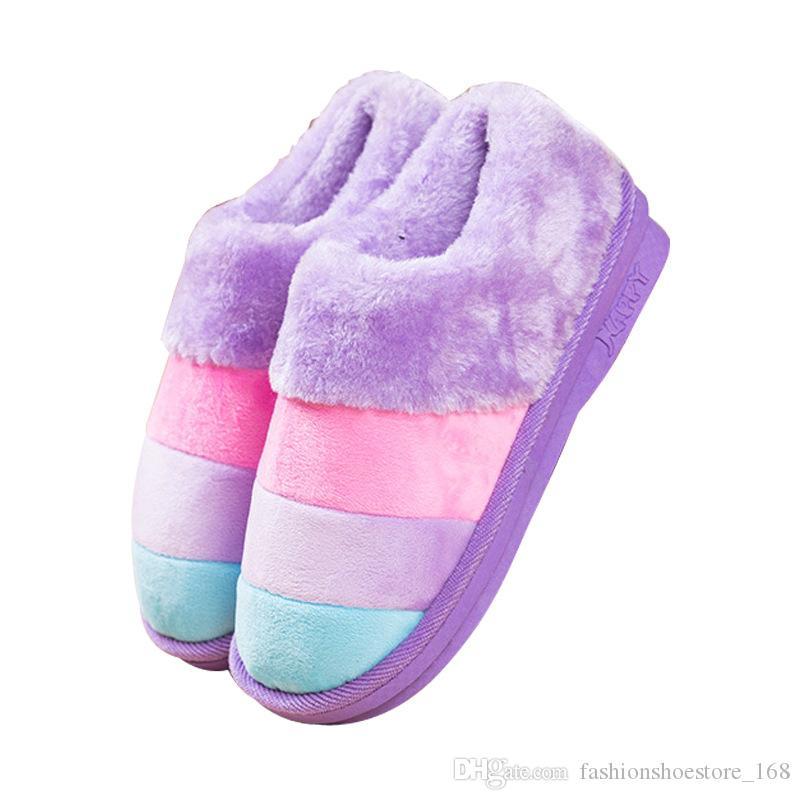 Pantofole invernali a strisce arcobaleno Scarpe di cotone Pantofole di peluche calde da donna Nuove scarpe antiscivolo Morbide pantofole pelose
