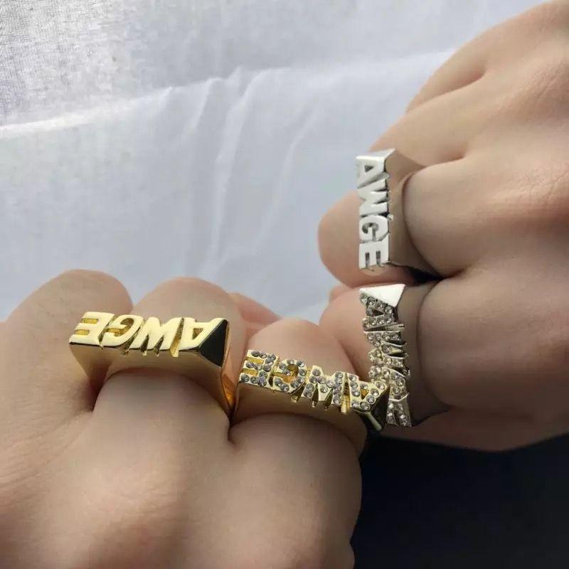 Anillo de dedo del anillo con la letra clásica de 2019 Hip Hop AWGE ASAP ROCKY con superficie lisa de dos colores en color dorado y plateado