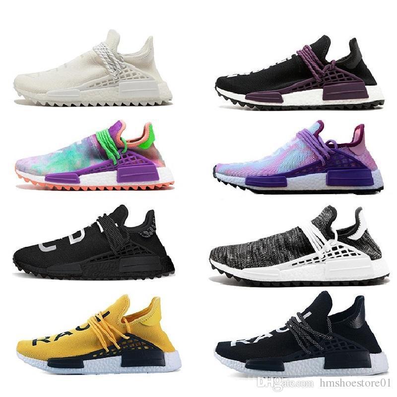 Adidas NMD human race Autêntico Afro Hu Corrida Humana Pharrell Williams NERD traniers Sapatos Homem Mulheres Designs Correndo Jogging Caminhadas Sapatos Sneakers tênis esportivos