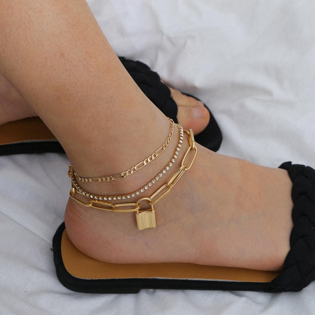 Fashion 3pcs/set with Lock Pendant Chain Anklet Bracelet for Women Foot Accessories Summer Beach Barefoot Sandals Bracelet
