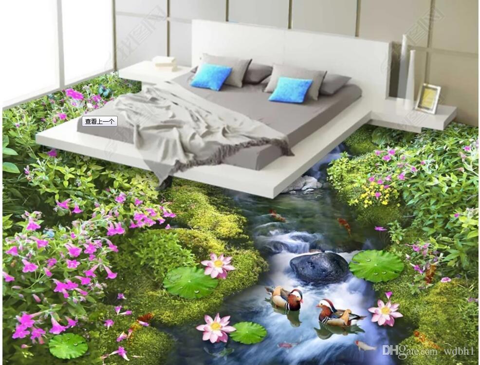 Pvc 3d bodenbelag benutzerdefinierte foto Wasserdichte bodenwand Blume meer welt blumen bodenmalerei 3d wandbilder wallpaper