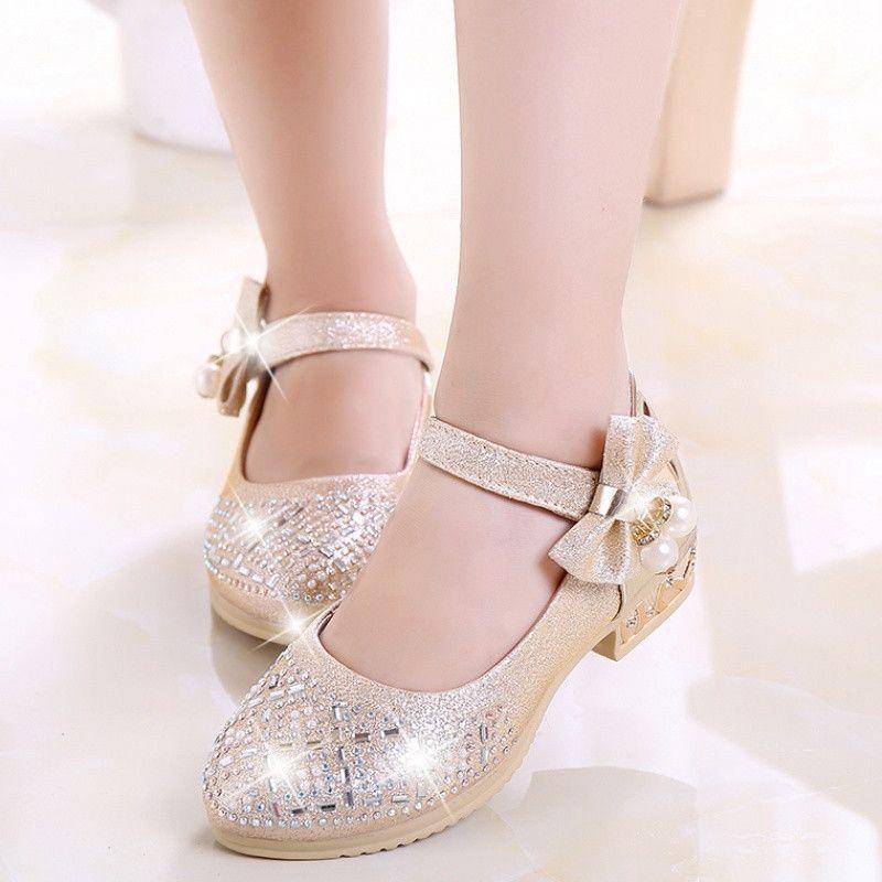 New Fashion Kids Girls Rhinestones Ankle Strap High Heels Princess Dance Shoes