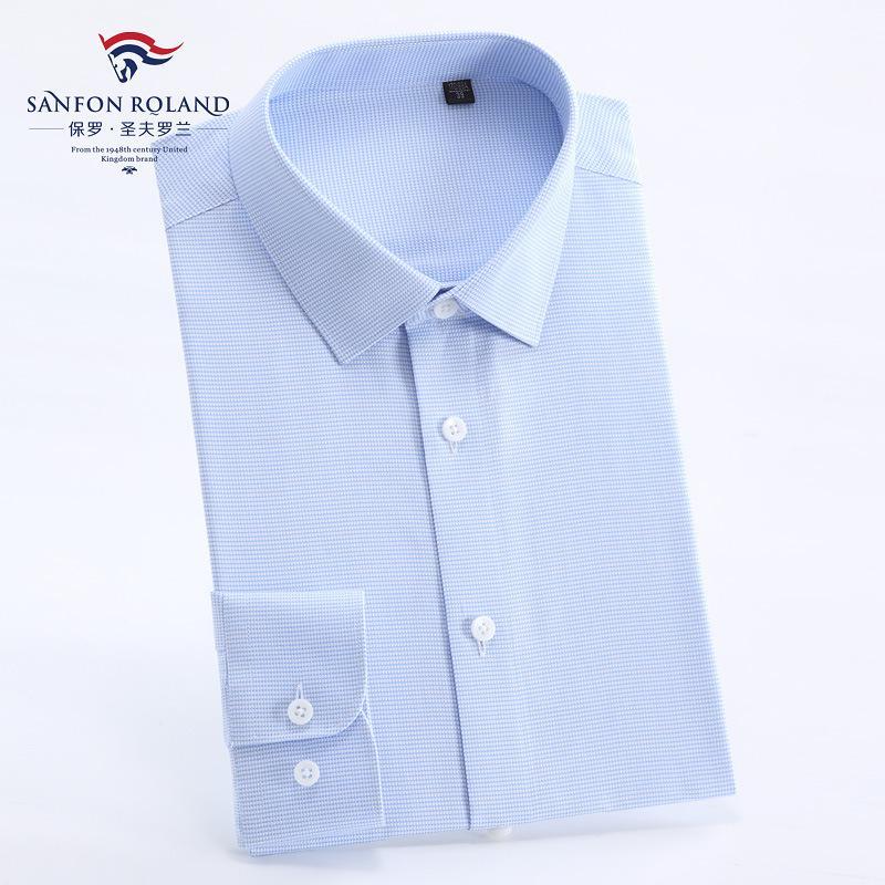 ملابس أعلى نوعية الرجال الدرجة العليا القطن الخالص موانئ دبي جاهزة للارتداء قميص رجالي كم طويل تريم الأعمال الصلبة لون اللباس الرسمي قمصان M15