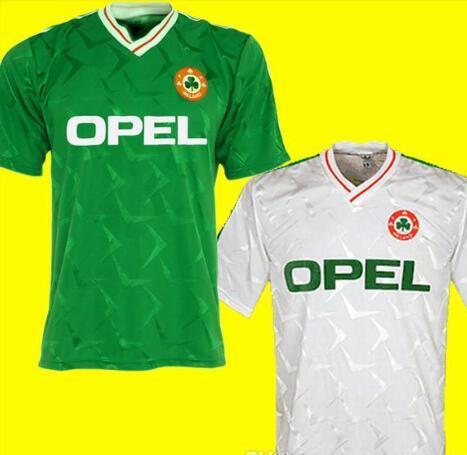 Thailand Fußballhemden 1990 1992 Irland RETRO Fußball-Trikot Republik Irland Nationalmannschaft Shirts 90 WM-Kit grün weiß