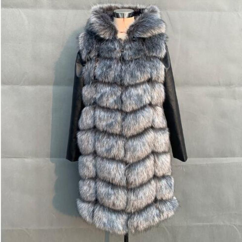 Cálido 90CM invierno de la piel capa de la chaqueta de la manga con la PU de alta imitación de vestir exteriores de la chaqueta con capucha de las mujeres Outwear Con la piel de imitación