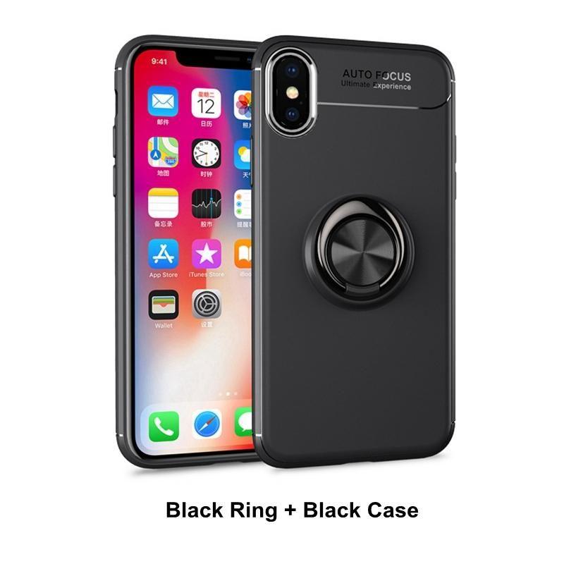2 TPU Telefon Kapak iPhone XS XR XR MAX Samsung OPP TORBA Paketi DHL ile 1 Telefon Kılıfı Manyetik Halka Tutucu olarak