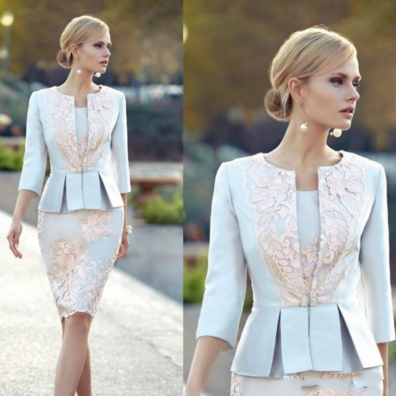 2020 Cheap Appliqued Mother Of The Bride Dresses With 3/4 Sleeves Peplum Wedding Guest Dress Knee Length Plus Size Jacket Mothers Groom Gown