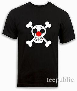 Un pezzo maglietta Buggy personalizzato Clown Bandiera pirata Anime Nero Top MENS KIDS Ragazzi
