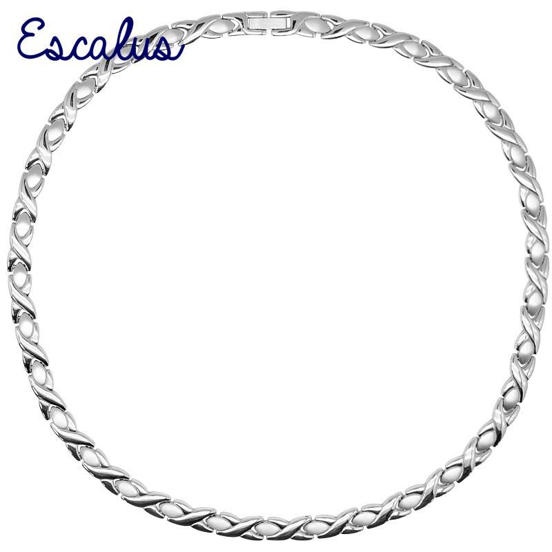 vendita all'ingrosso collana in acciaio inossidabile magnetico 316L per le donne gioielli in argento colore 4-in-1 Trinket Bio signore choker collane di fascino