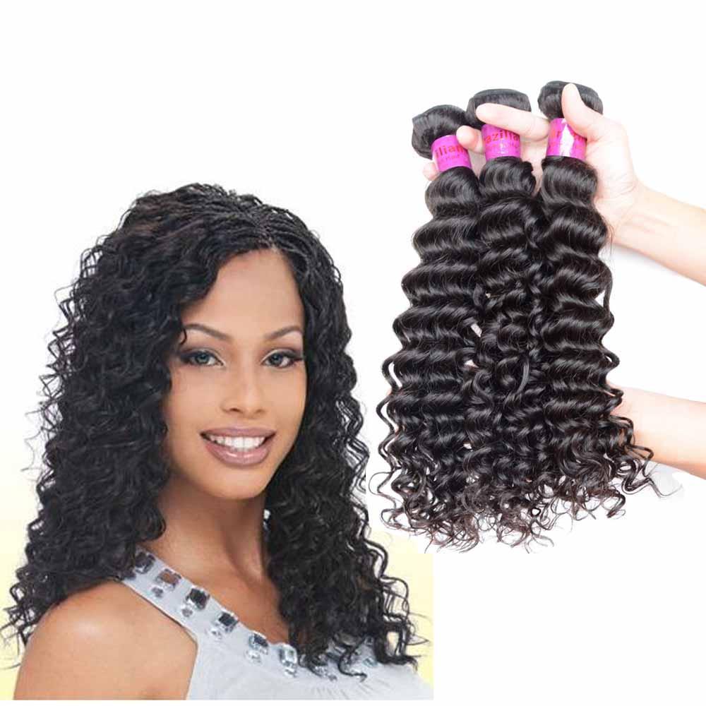"""Jungfrau Menschliches Haarwebart Brasilianischer peruanischer indischer malaysischer europäischer 12 """"bis 28 zoll hohe qualität unverarbeitetes 3 stücke Rohes Haarbündel tief lockig"""