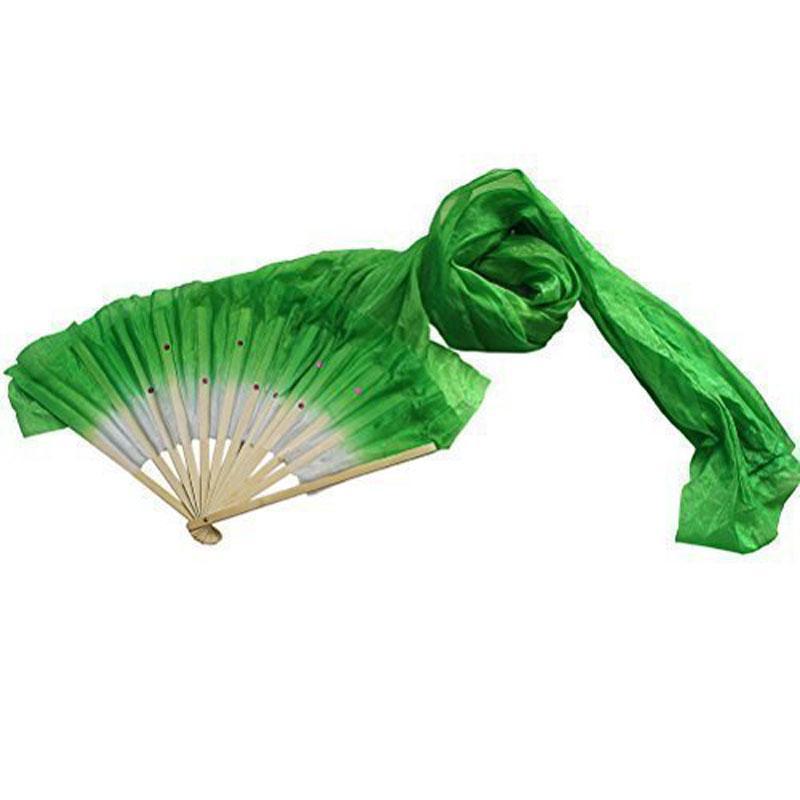 1.8m Hand Made Colorful Belly Dancing Bamboo Long Silk Fans Veils Dance Fan JS24