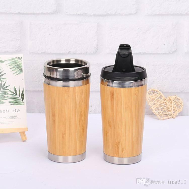 hot Bamboo vacuum cup Tumblers 304 Stainless Steel Inner Water Bottle car Travel Mugs Cups Reuseable For Coffee cup kitchenwareT2I5564