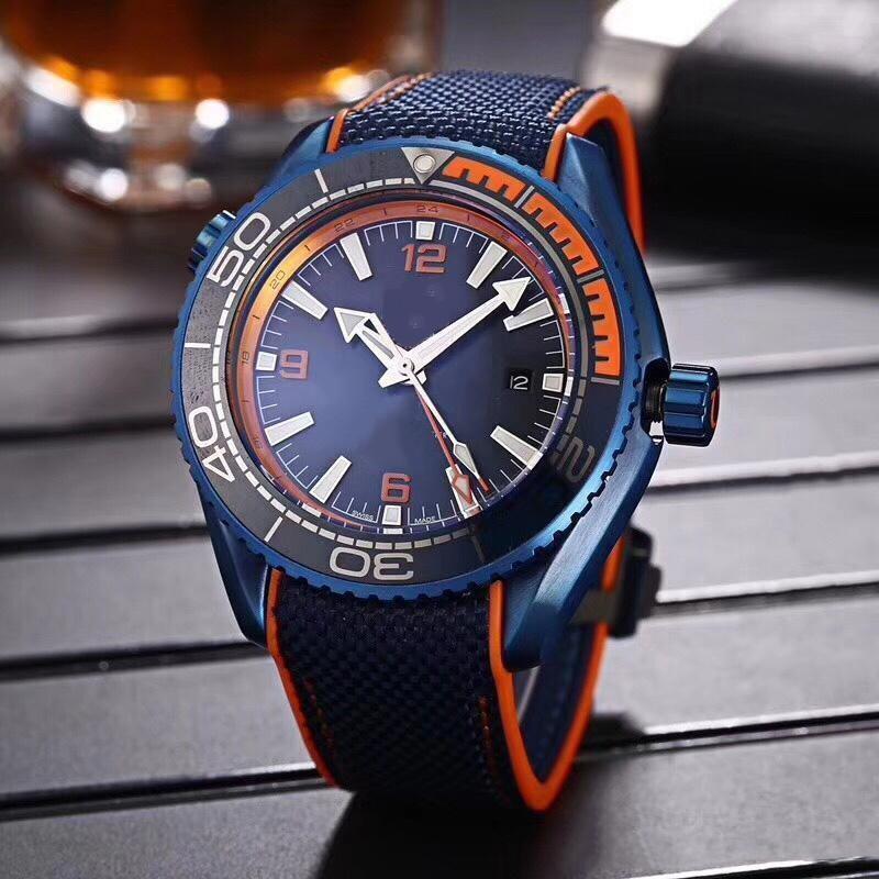 New Top mens venda assistir mar série ine 45MM laranja azul mostrador azul rosto 2813 altos relógios dos homens automáticos pulseira de borracha mecânicos
