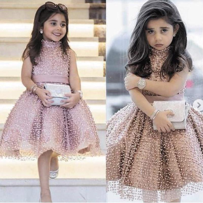 Cute Wave point Dusty Pink Flower Girl Dresses Beaded Tutu Puffy Kids Pageant Little Girl Dresses 2020