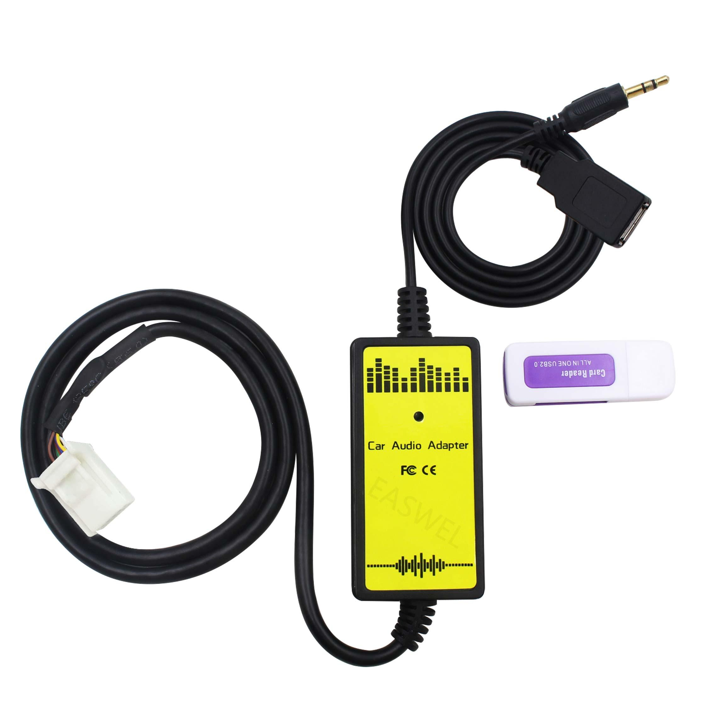 6+6Pin Car Audio CD Adapter Changer MP3 AUX USB Data Cable For Toyota Camry