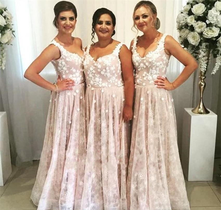Cheap Lace Bridesmaid Dresses 2019 A Line Summer Country Garden Formal Wedding Party Guest Maid of Honor Gowns Plus Size Custom Made