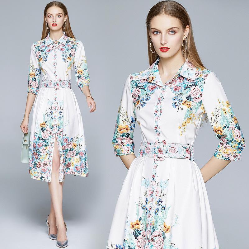 새로운 2020 우아한 화이트 여성의 빈티지 꽃 인쇄 옷깃 셔츠 드레스 디자이너 활주로 여성 캐주얼 Office 단추 전면 파티 댄스 파티 드레스