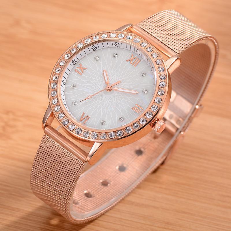 2020 New Fashion Women Watch Top Quartz Mulheres Relógios Ladies Relógio Rhinetone Steel Band Rosa de Ouro