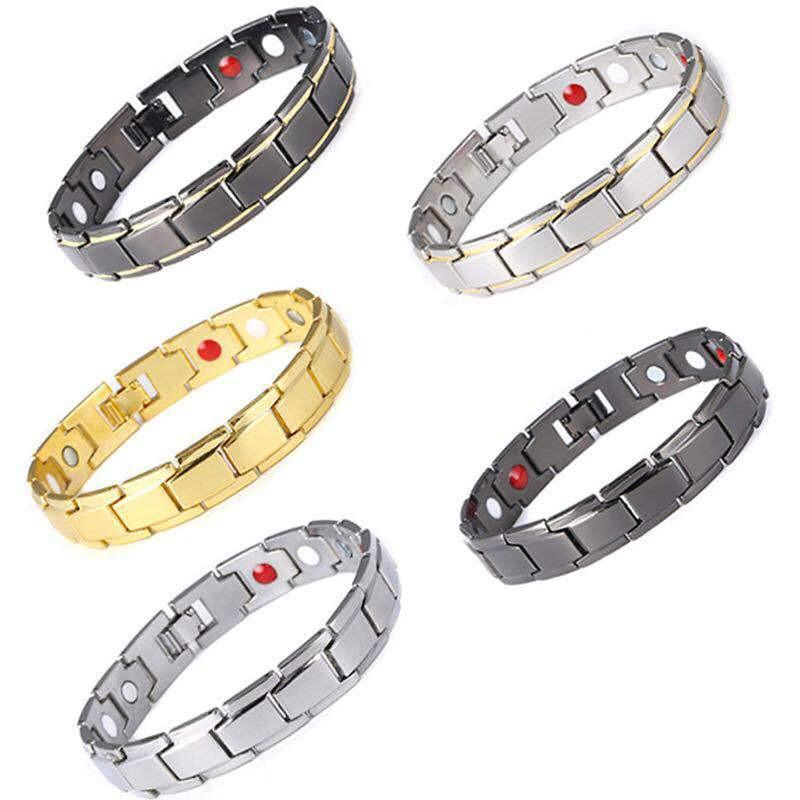Pulseras masculino 500PCS acero inoxidable del balance energético de los brazaletes de la conexión de cadena germanio pulseras magnéticas para la joyería de los hombres Cuidado de la Salud