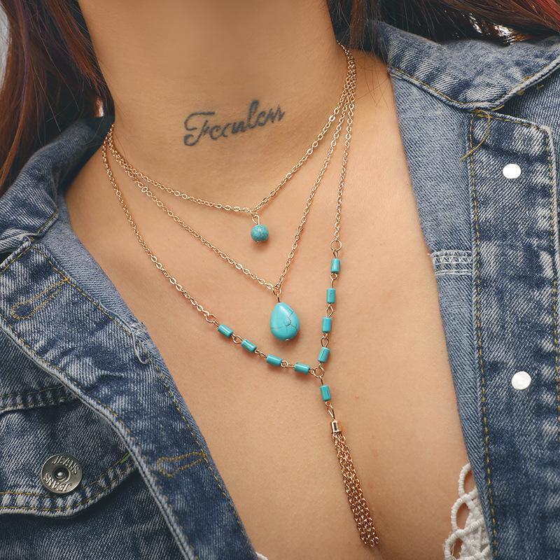 Boho Multilayered Necklace Türkis Quasten Anhänger Halsketten für Frauen und Mädchen