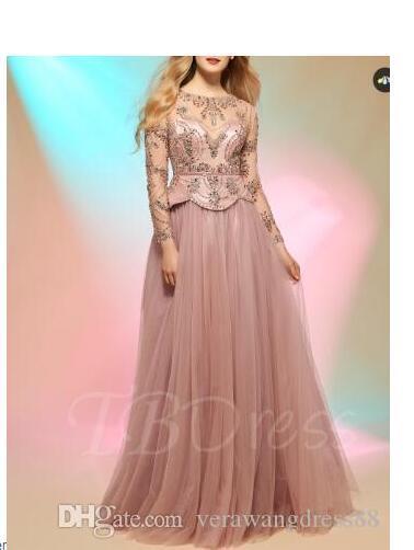 Pulsante A-Line Scoop maniche lunghe perline Prom Dress laurea
