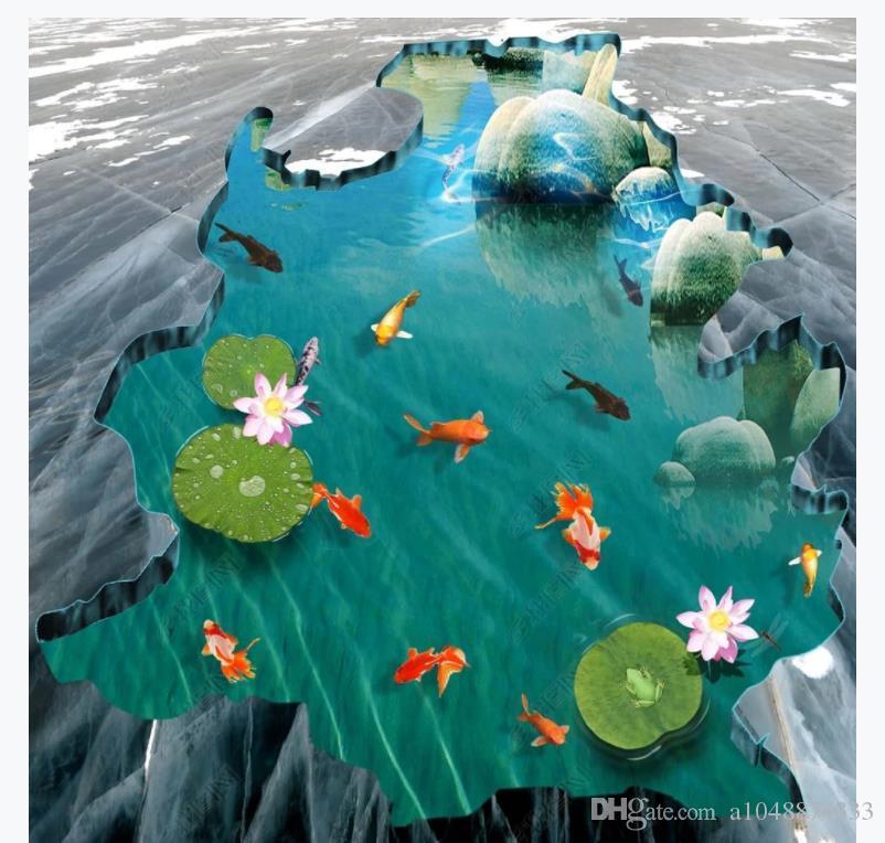 Customized 3D Self-adhesive floor photo mural wallpaper Mall 3D squid pond lotus bathroom indoor and outdoor waterproof floor stickers