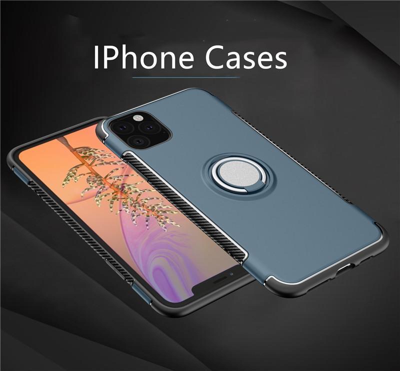 Pour iPhone 11 Pro Max New TPU Téléphone cas pour Iphone11 / 11Pro IphoneXR XS XSMAX 7P / 8P 7/8 Couverture arrière avec support Bague