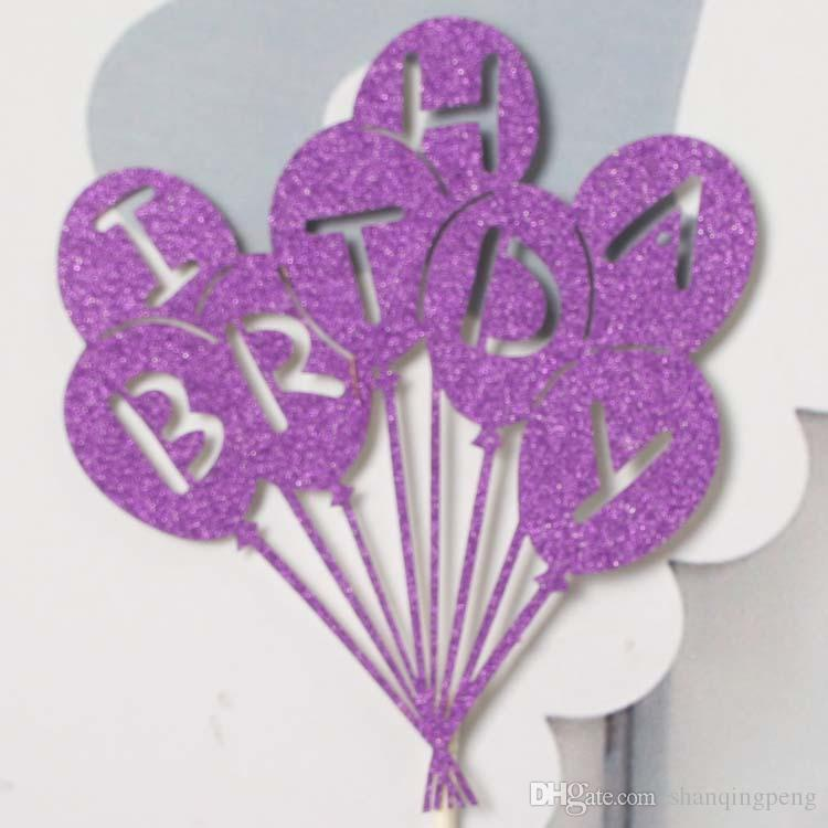 bicarbonato de moda decoración de la torta de cumpleaños torta torta bandera movible de la tarjeta del globo los niños de DIY la decoración del partido postre