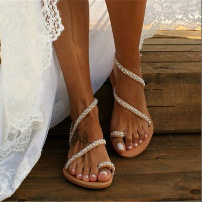 2020 Flache Sandalen Frauen-Sommer-Weinlese Boho Perle Dekoration-Sandelholz-Frauen Beach Holiday Schuhe Frau Leder-Ebene-Schuhe CX200613