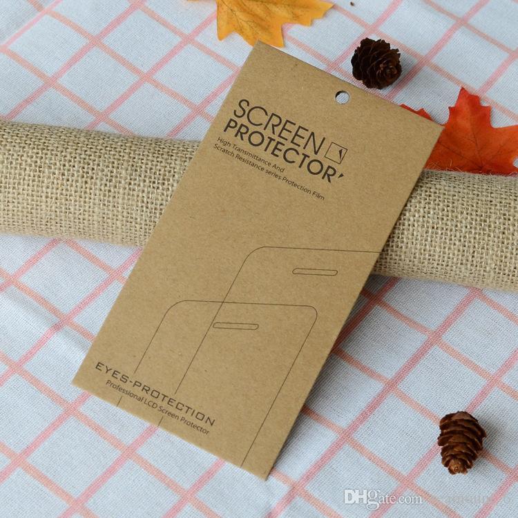 Pour iPhone 6 7 8 6S Verre Trempé Emballage Boîte Protecteur D'écran Paquet Kraft Papier Paquet pour Samsung Galaxy S9 Garde D'écran