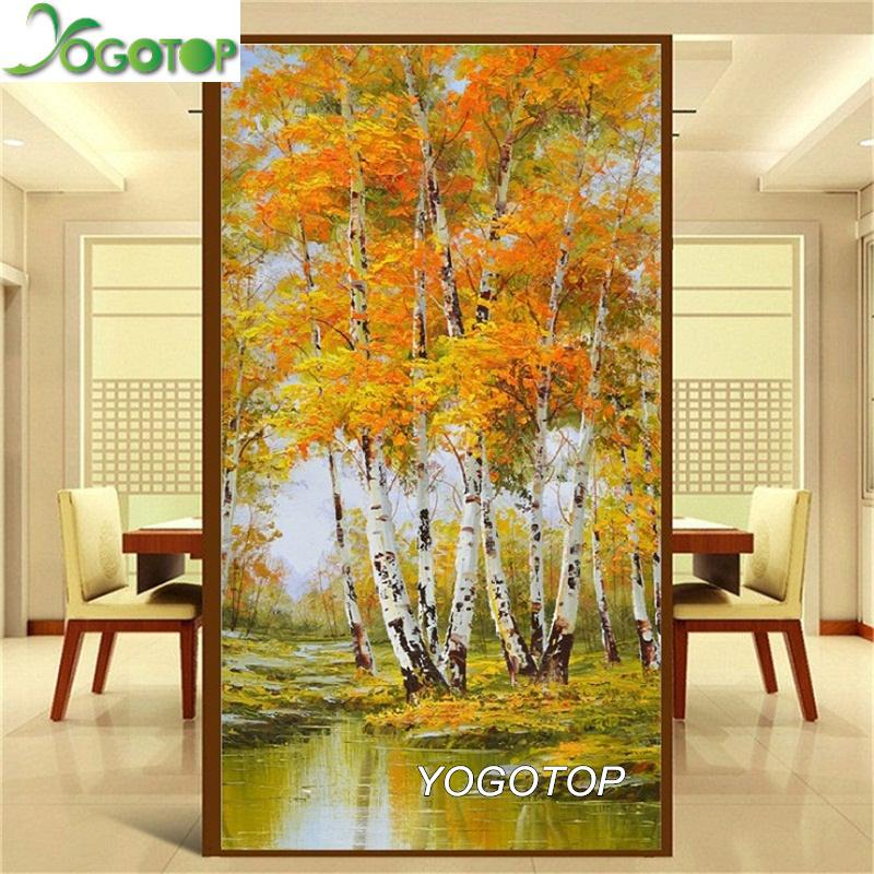 wholesale 5D DIY embroidery autumn forest natural landscape Pictures decor full Mosaic kit round rhinestone Diamond painting YY635